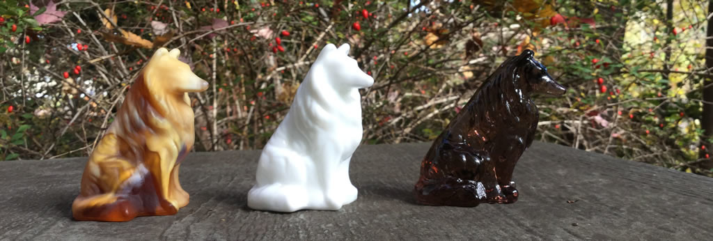 glass collie figurines