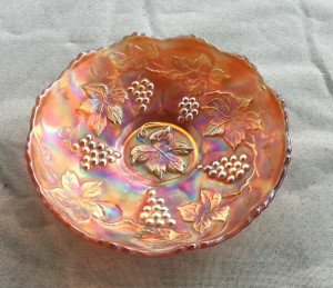 Carnival glass bowl - marigold color