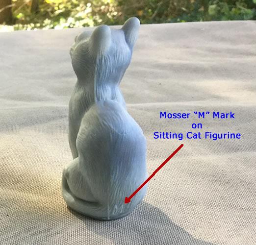Mosser mark on sitting cat figure